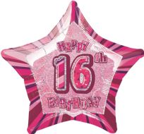 "Glitz 20"" Star Balloon Pink - Age 16"